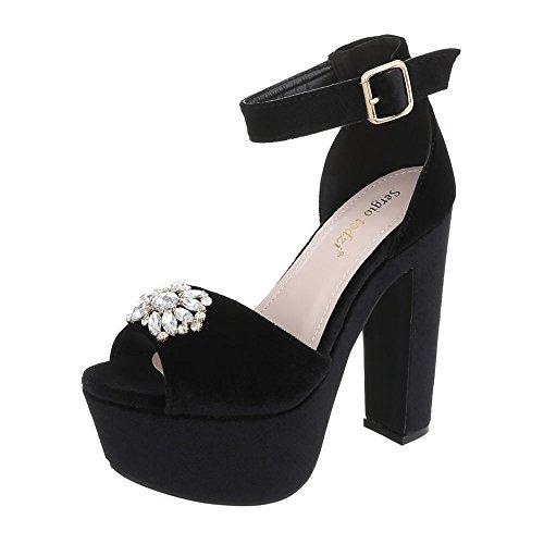 Ital-Design High Heel Sandaletten Damen-Schuhe High Heel Sandaletten Pump High Heels Schnalle Sandalen & Sandaletten Schwarz, Gr 39, Ju1139-