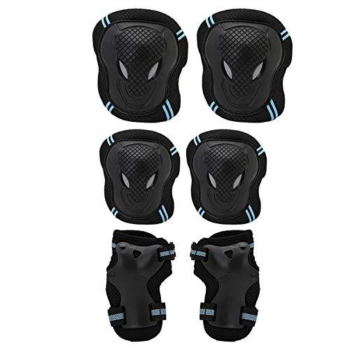 6Skaten schutzausrüstungen Sets Ellenbogen Knie Pads Bike Skateboard für Erwachsene Kid, Blau, L