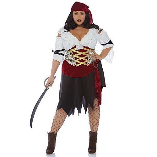Leg Avenue 86673X08101 2 teilig Set Hohe See Piratin, Damen Karneval Kostüm Fasching, Mehrfarbig, Größe 1X/2X (EUR 46-50)
