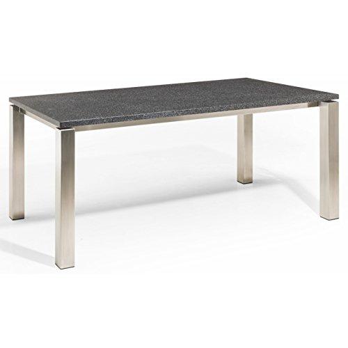 Studio 20 Stavanger Gartentisch 240 x 100 cm Outdoortisch Granittisch Edelstahl Tischplatte Angola black geschliffen
