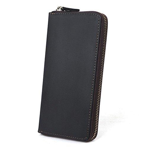 Herrenbrieftasche Leder Business Taschen Europäischen Und Amerikanischen Mode Taschen Lange Reißverschluss Brieftaschen Geldbörsen Handtaschen,Black-OneSize -