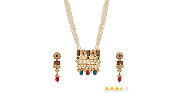 bdb8cc83852 Buy Pariza Golden Alloy Long Kundan Temple Jewellery Necklace Set for Women  Online at Low Prices in India