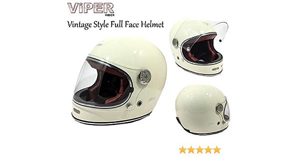 Motorrad Viper F656 Vintage Fiberglas Integral Erwachsene Helm Motorrad Roller Biker Rider Herren Damen Retro Klassiker Stil Crash Racing Touring Sport Ece App Helm Creme Creme M Sport