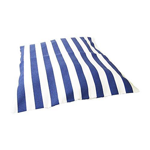 Deko Kissen 40×40 cm – gestreift St. Tropez – maritimes Kissen, Kissen maritim, Bootskissen, Gartenkissen, Stuhlkissen, Sofakissen (Blau) - 3