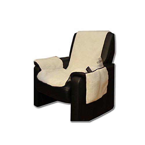 Sesselschoner mit Seitentaschen Lammflor Sesselschoner von JEMIDI Sesselauflage Überwurf Sesselüberwurf Sesselbezug Polster Sofaüberwurf Sesselschützer Sesselbezug Schonbezug (Natur)