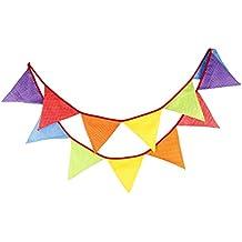 Guirnaldas de tela de algodón patrón de 3.3 m raya lunares 12 triángulo banderas banderín cara doble bandera bandera para Navidad Halloween boda decoraciones fiesta de cumpleaños