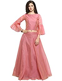 d96a0dd173 Inddus Women's Cotton Top with Chanderi Flared Skirt (Pink, Free Size)