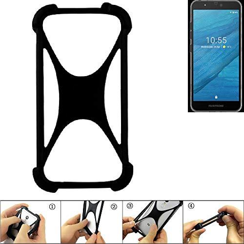 k-s-trade® paraurti per cellulare fairphone fairphone 3 paraspruzzo in silicone custodia cover bumper per astuccio tpu softcase protector nero (1x)