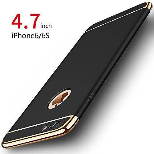 PRO-ELEC iPhone 6 Coque/iPhone 6S Coque, [3 en 1 Series] Coque Très Mince [avec Verre Trempé] Non Slip Surface Antichoc & Electro Placage Texture Protector pour iPhone 6 iPhone 6S (4.7') - Noir