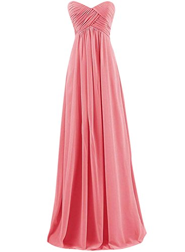 Azbro Women's Strapless Maxi Evening Prom Bridesmaid Chiffon Dress Watermelon Red