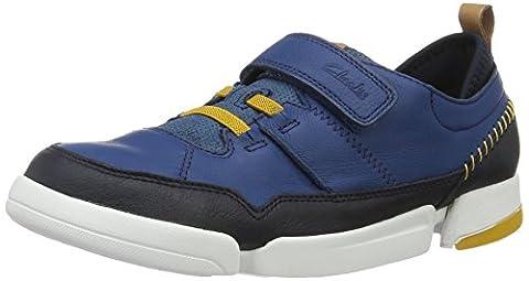 Clarks Jungen Tri Scotty Jnr Low-Top, Blau (Blue Combi), 34