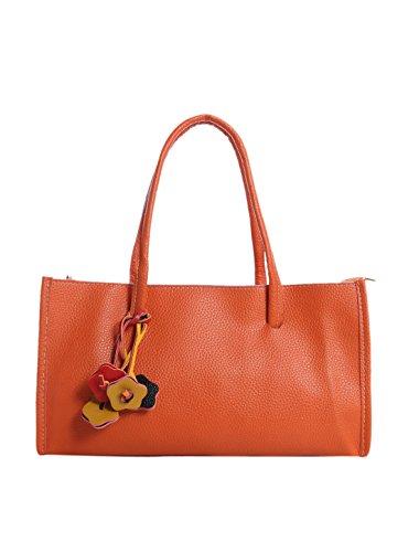 sourcingmap Frau Damen strukrierter nicht glatt Leder Tasche Verschluss orange Farbe