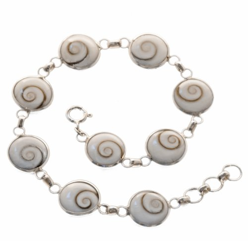 Damen Auge (Bella Carina Damen Armband mit 9 Shiva Augen 19 - 21 cm, 925 Sterling Silber)