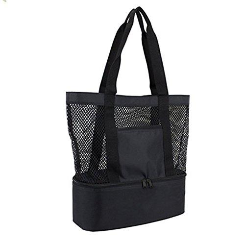 Große Beach Tote Bag (OKPOW Double Layer Mesh Beach Bag Tote Picknick Organizer Einkaufstasche Handtasche Schwarz)