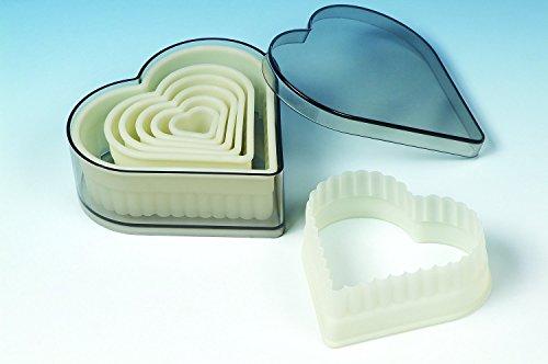 Moule en Silicone 11 x 10 x 8 cm Forme de cœur cannelé Cookie Cutter Biscuit Lot Livré dans boîte de Rangement, Ivoire/Transparent