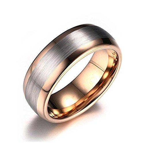 LAMUCH Herren Damen 8MM breiter Pull Sand Rose Gold Wolfram Stahl Ring Größe65 (20.7)