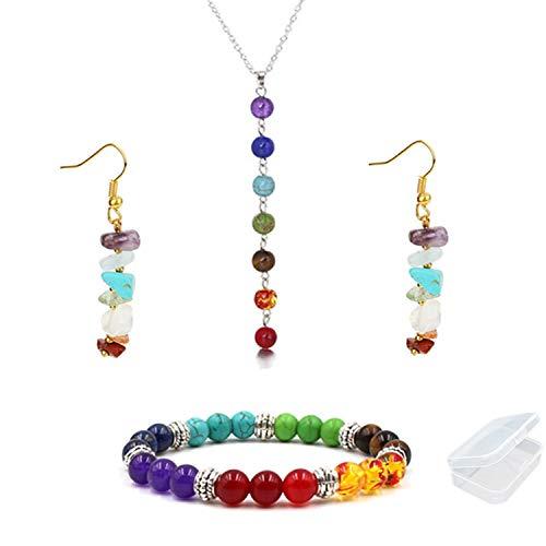 PPX 4 Piezas Collar, Aretes y Pulsera de 7 Chakras con Caja Transparente, Colgante con Piedra de Curación, para Reiki, Yoga, Meditación, Protección, Equilibrio