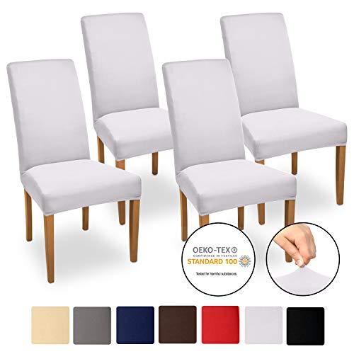 Beautissu Stuhlhussen 4er Set Mia 35-50 cm Stretch Stuhlbezug - Vier Hussen für Stühle im Set - Bi-Elastic Stuhlüberzug Set - Pflegeleichte Stuhlhusse ÖKO-TEX Weiß