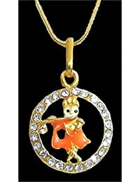 DollsofIndia Gold Plated Pendant - Krishna In A Stone Studded Circle - Metal (HN90-mod) - Golden, Yellow