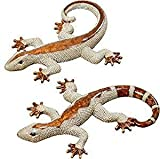 Bo 2 STK. Eidechsen Salamander Gekko 23 cm Silber 2er Set Deko Figuren Skulptur