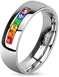 Paula & Fritz anello in acciaio chirurgico 316L Zirkoniareihe in colori del Rainbow disponibili misure anelli 47 15-69 22 R-M2154
