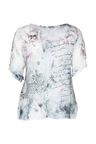 Paprika Damen große Größen Bluse aus bedrucktem Schleierstoff mit Strass Weiß