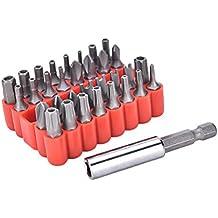 37yimu Juego de 33puntas de BIT de extensión portapuntas magnético con puntas, Torx y llave hueca de incluye