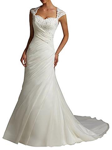 Dapene Robe ® femmes en Train de sirène Robe de mariée Décolleté en cœur pour robe de mariée - Blanc - 46