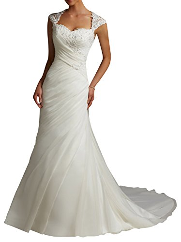 DAPENE  Damen Schlauch Brautkleid Gr. 48, Weiß - Weiß