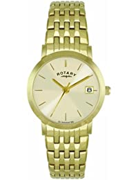 Rotary Women's Quartz Watch with Off-White Dial Analogue Display and Gold Stainless Steel Bracelet LB02624/03