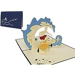 Lin de cartes de vœux Pop Up, cartes 3D Bon Voyage Vacances Palmier île, TUBA