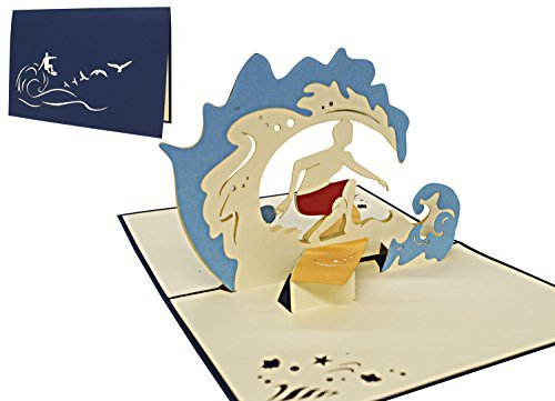 LIN-POP UP Grußkarten, 3D Karten Reisegutschein Urlaubsgruß Palmeninsel, Schnorchel (Urlaub Fischen)