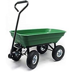 WilTec Chariot de Jardin à Main avec Benne basculante Volume 75L Capacité de Charge 300Kg Remorque Brouette