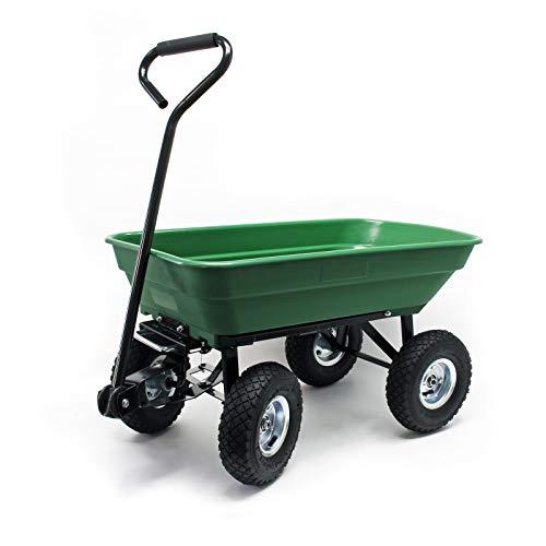 WilTec Chariot de Jardin Auge de basculement Chariot à Main Chariot à Main avec Fonction de basculement 75l