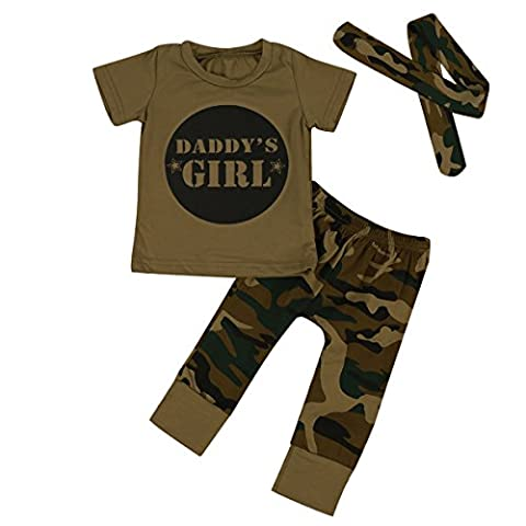 Puseky Daddy's Boy Girl Short Sleeve T-shirt Camouflage Pants Baby Outfits Set (0-6 Months, Girl)