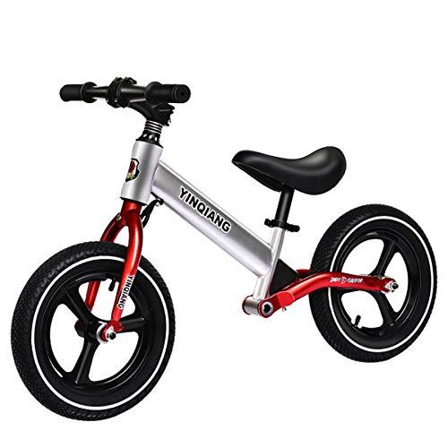 GJNWRQCY Extrem Komfortables Laufrad, 12-Zoll-Luftreifen, kein Pedal, Kinderfahrrad für 3-6 jährige Jungen und Mädchen, verstellbares Fahrrad,Rot