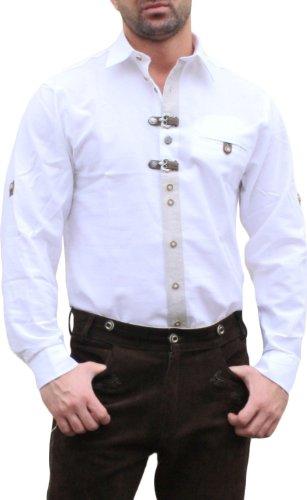 Trachtenhemd für Lederhosen mit Verzierung weiß, Hemdgröße:2XL