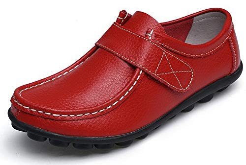Yooeen Damen Mokassins Bootsschuhe Leder Arbeitsschuhe Freizeit Flache Loafers Halbschuhe Fahren Sandalen Klettverschluss Erbsenschuhe -