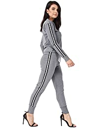 452e6585d43bde Missi London Women Ladies Tracksuit Set Long Sleeves Striped Sweatshirt Top  + Pants Jogger Outfit Loungewear