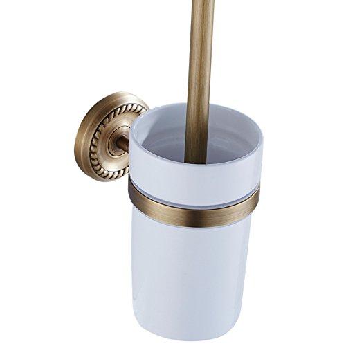 CASEWIND Befestigt Praktisch Günstig Toilettenbürstenhalter aus Messing mit Becher und Bürst zum Bohren Wandhalterung Europäisch und Antik finished Aussehen