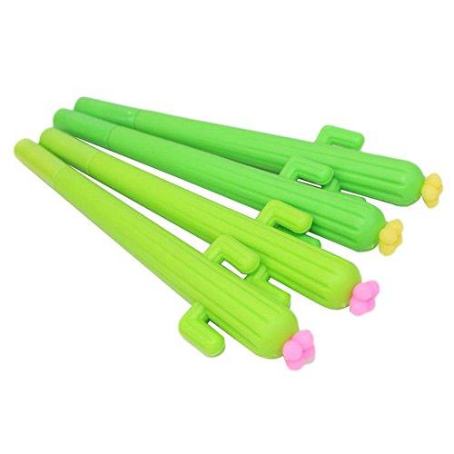 JUNGEN 4PCS Pluma de Gel Forma de Cactus Bolígrafo de Tinta de Gel Moda Oficina y Papeleria Artículos