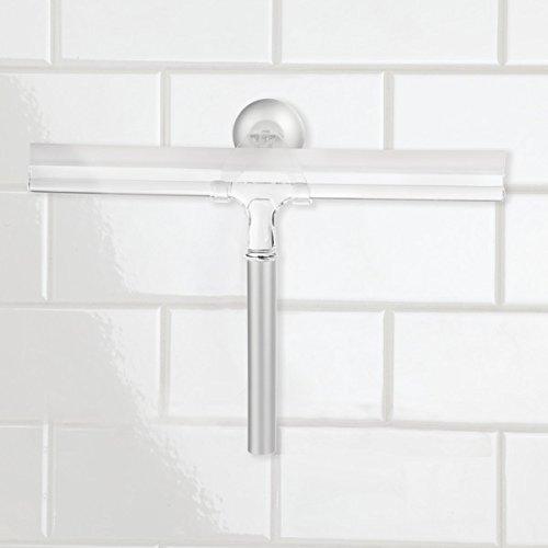41H0oEOo9NL - mDesign Espátula limpiacristales para Ducha - Óptima como limpiavidrios para mamparas de Ducha o Ventanas - Limpiador de Cristales de Color Plateado - con Ventosa para fijación a Pared - Aluminio
