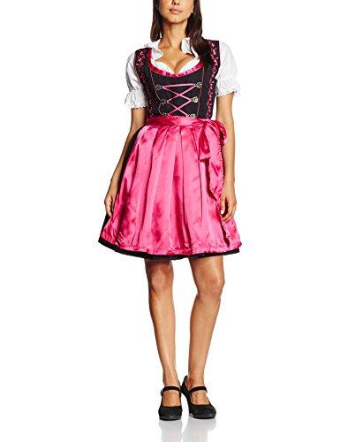 Gaudi-Leathers Dirndl Set 3 Teilig. Trachtenkleid, Dirndl Bluse, passender Schürze in Schwarz (Pink Schwarz 050), 44