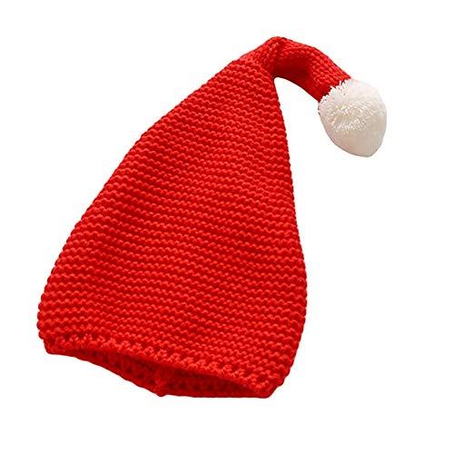 Glareshop Einfarbig Plüsch Ball Elastische Kinder Kinder Kopf Ohr Wrap Warm Beanie Hat Cap Red (Red Newsboy Cap)