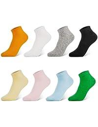 Newdora 8 Pares Primavera y Verano Calcetines de Corte Bajo de Algodón Para Mujeres - Calcetín Deportivos Corto Malla Transpirable Invisibles Antideslizantes Calcetines