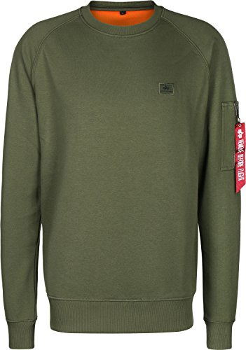 Alpha Industries Uomo Felpa con X-Fit, Verde, Large