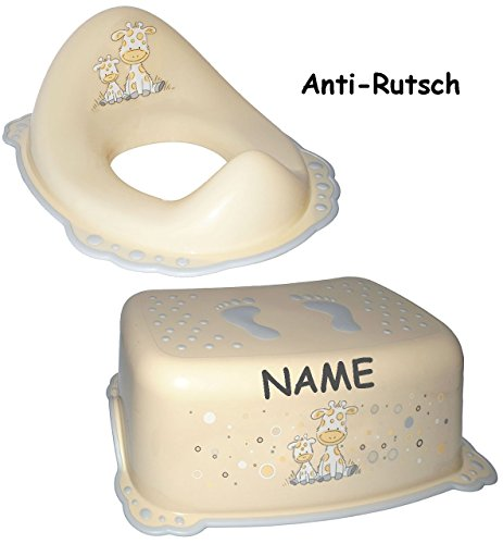 """2 tlg. Set: ANTI RUTSCH - Trittschemel & Toilettenaufsatz / Sitz - """" Giraffe - creme """" - incl. Name - Sitzverkleinerer - Tritthocker / Kindersitz - Kinderschemel & Kindertritt - groß - ideal als Erhöhung & Sitz - Kinderhocker - auch für Toilettentrainer - für Kinder Mädchen Jungen - Bad Kunststoff - Trittbank - Tiere / Giraffen Zoo"""