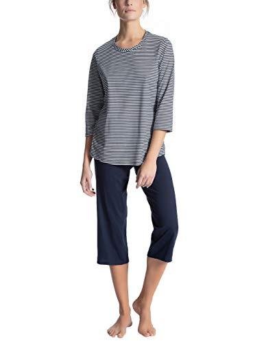 Calida Damen Soft Jersey Fun Zweiteiliger Schlafanzug, Blau (Peacoat Blue 488), 48 (Herstellergröße: L) Peacoat