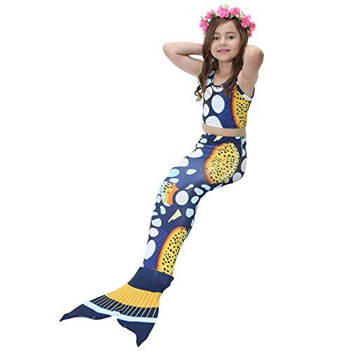 Kootk Schwimmen Mermaid Custome Swimmable Tail Bademode (3 Stück-1 * Bikini + 1 * Short + 1 * Meerjungfrau Schwanz) JP82 140