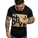 MRULIC Herren Mode Sommer T-Shirt lässig Slim Fit Floral Kurz Gedruckt Ärmelloses T-Shirt Top Hemd(A-Schwarz,L)